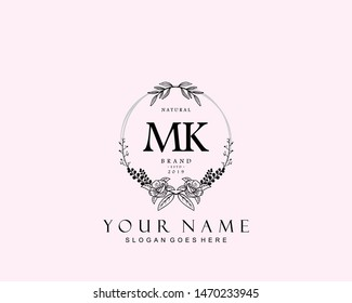 Initial MK beauty monogram and elegant logo design, handwriting logo of initial signature, wedding, fashion, floral and botanical with creative template.