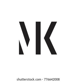 initial MK letter linked logo vector black