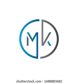 Initial MK letter Logo Design vector Template. Abstract Letter MK logo Design