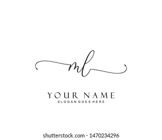 Initial ML beauty monogram and elegant logo design, handwriting logo of initial signature, wedding, fashion, floral and botanical with creative template.