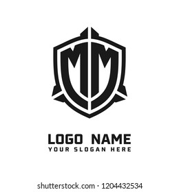 Initial MM abstract shield logo template vector