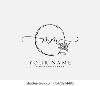 Initial MM beauty monogram and elegant logo design, handwriting logo of initial signature, wedding, fashion, floral and botanical with creative template.