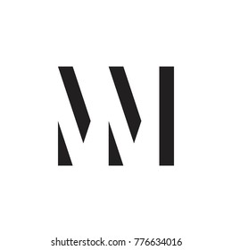 initial MM letter linked logo vector black