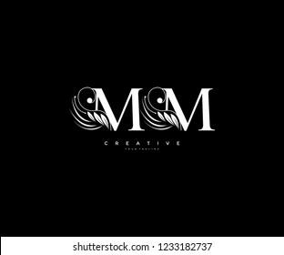 Initial MM letter luxury beauty flourishes ornament monogram logo