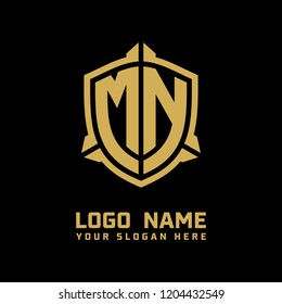 Initial MN abstract shield logo template vector
