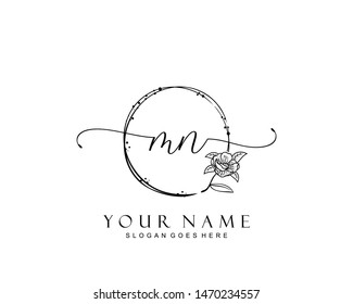 Initial MN beauty monogram and elegant logo design, handwriting logo of initial signature, wedding, fashion, floral and botanical with creative template.