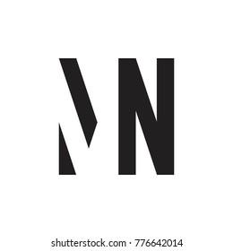 initial MN letter linked logo vector black