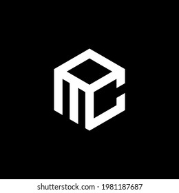 initial MOC Letter Logo Design polygon Monogram Icon Vector Template.LOGO MC