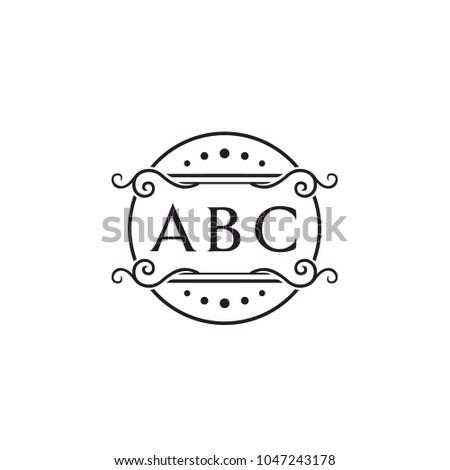 Initial Monogram Circle Floral Frame Stock Vector (Royalty Free ...
