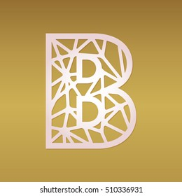 initial monogram letter b with geometrical pattern may be used for laser cutting fancy