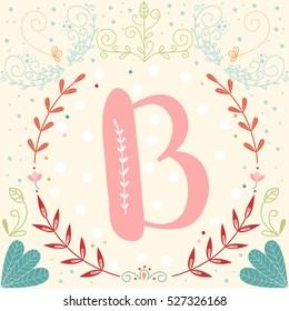 Initial Monogram Letter B In Vector Fancy Alphabet