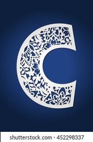 Initial monogram letter C.  Fancy alphabet letter for paper cutting. Floral drop cap.
