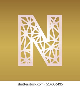 initial monogram letter n with geometrical pattern fancy alphabet with mosaic geometric pattern laser