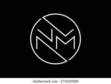 Initial Monogram Letter N M Logo Design Vector Template. NM Letter Logo Design