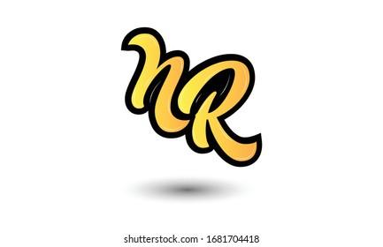Initial Monogram Letter NR Logo Design Vector Template. NR Letter Logo Design