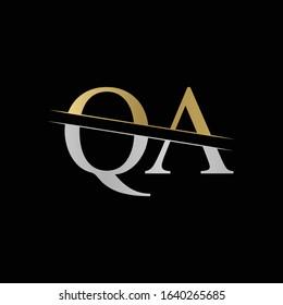 Initial Monogram Letter QA Logo Design Vector Template. Silver and Gold QA Letter Logo Design