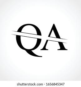 Initial Monogram Letter QA Logo Design Vector Template. Black Letter QA Letter Logo Design