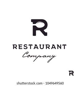 Initial / Monogram R with Spoon / Fork for Restaurant logo design inspiration