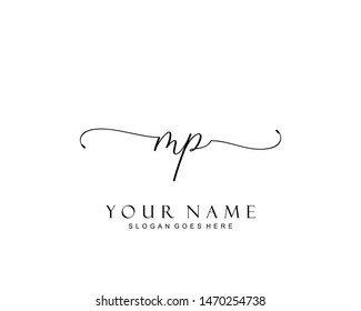 Initial MP beauty monogram and elegant logo design, handwriting logo of initial signature, wedding, fashion, floral and botanical with creative template.