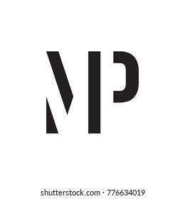 initial MP letter linked logo vector black