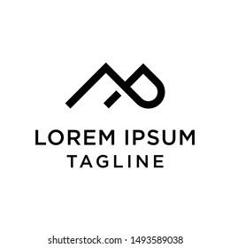 Initial MP Mountain Abstract logo Design Template