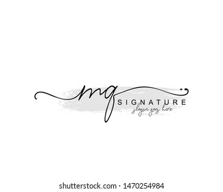 Initial MQ beauty monogram and elegant logo design, handwriting logo of initial signature, wedding, fashion, floral and botanical with creative template.