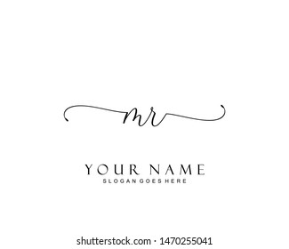 Initial MR beauty monogram and elegant logo design, handwriting logo of initial signature, wedding, fashion, floral and botanical with creative template.