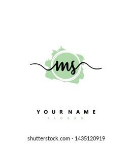 Initial MS beauty handwriting logo vector