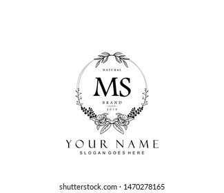 Initial MS beauty monogram and elegant logo design, handwriting logo of initial signature, wedding, fashion, floral and botanical with creative template.