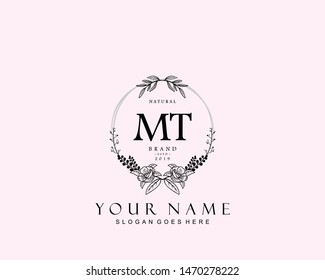 Initial MT beauty monogram and elegant logo design, handwriting logo of initial signature, wedding, fashion, floral and botanical with creative template.