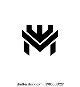 initial mw Crown Letter Logo Design Monogram Icon Vector Template.me logo