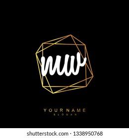 Initial MW handwriting logo vector