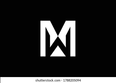 Initial MW WM modern monogram and elegant logo design, Professional Letters Vector Icon Logo on black background.