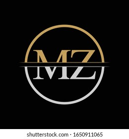 Initial MZ letter Logo Design vector Template. Gold and Silver Letter MZ logo Design