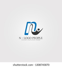 initial N letter logo template with people,vector logo for business corporate, element , illustration -vector
