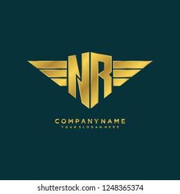 Initial N R wing logo template vector