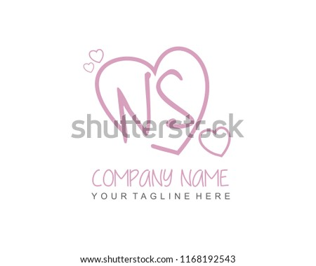 Initial N S Love Logo Template Stock Vector Royalty Free