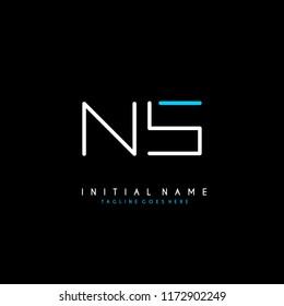 Initial N S minimalist modern logo identity vector