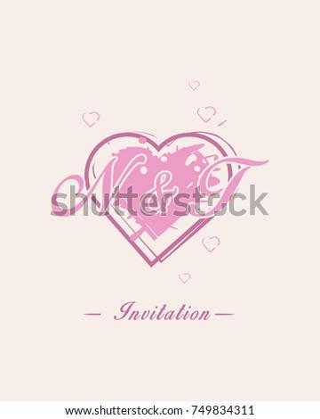 Initial N T Wedding Invitation Logo Stock Vector Royalty Free