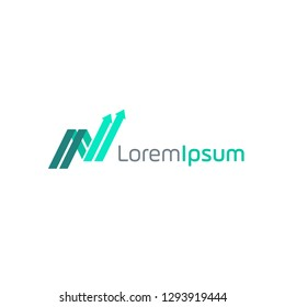 initial N trade logo design vector. consisting of a growth graph illustration as letter N. chart stats