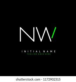 Initial N W minimalist modern logo identity vector