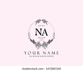 Initial NA beauty monogram and elegant logo design, handwriting logo of initial signature, wedding, fashion, floral and botanical with creative template.