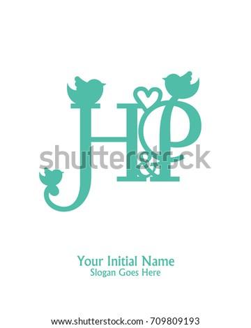 Initial Name H P Logo Template Vector