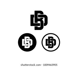 Initial Name Letter BD or DB Monogram Icon Logo Symbol Vector