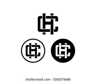Initial Name Letter CH or HC Sign Symbol Monogram Logo Vector