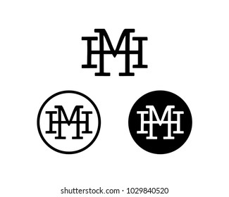 Initial Name Letter HM or MH Symbol Icon Monogram Logo Vector