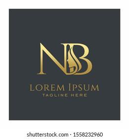 Initial NB Beauty Face Letter Logo Design Vector