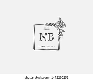 Initial NB beauty monogram and elegant logo design, handwriting logo of initial signature, wedding, fashion, floral and botanical with creative template.