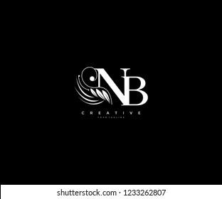 Initial NB letter luxury beauty flourishes ornament monogram logo