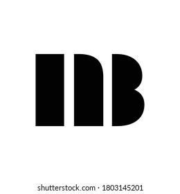 Initial NB monogram logo letter in black and white color.